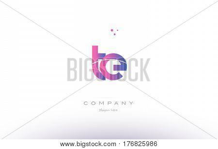 Te T E  Pink Modern Creative Alphabet Letter Logo Icon Template
