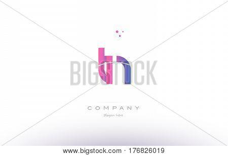Tn T N  Pink Modern Creative Alphabet Letter Logo Icon Template