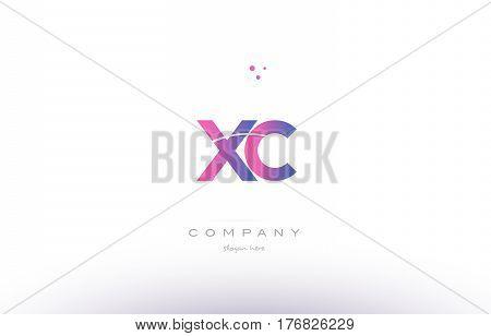 Xc X C  Pink Modern Creative Alphabet Letter Logo Icon Template