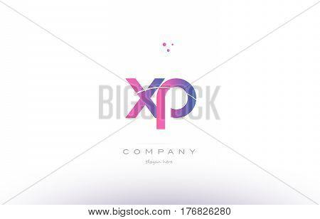 Xp X P  Pink Modern Creative Alphabet Letter Logo Icon Template