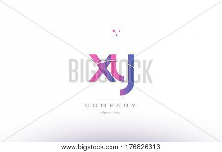 Xy X Y  Pink Modern Creative Alphabet Letter Logo Icon Template