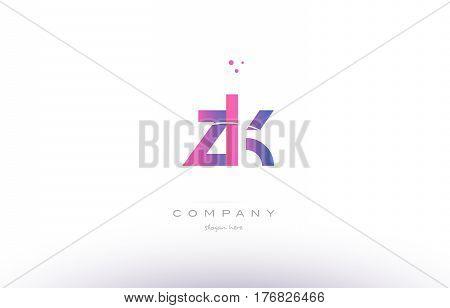 Zk Z K  Pink Modern Creative Alphabet Letter Logo Icon Template