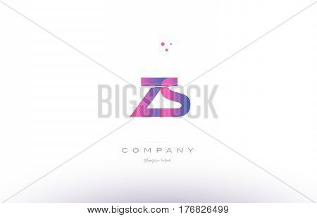 Zs Z S  Pink Modern Creative Alphabet Letter Logo Icon Template