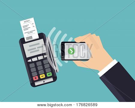 Mobile Payment and NFC technology concept. Male hands using smartphone for online shopping. Flat style vector illustration.