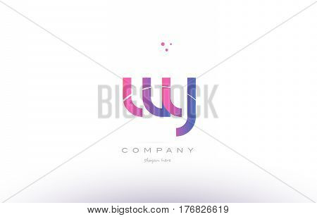 Wy W Y  Pink Modern Creative Alphabet Letter Logo Icon Template