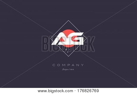 Ag A G  Vintage Retro Pink Purple Alphabet Letter Logo Icon Template