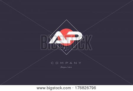 Ap A P  Vintage Retro Pink Purple Alphabet Letter Logo Icon Template