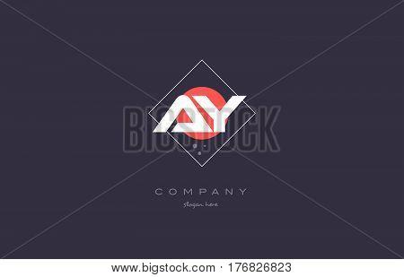 Ay A Y  Vintage Retro Pink Purple Alphabet Letter Logo Icon Template