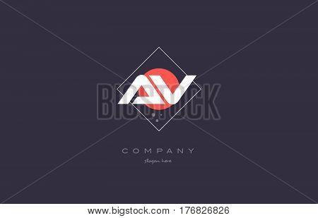 Av A V  Vintage Retro Pink Purple Alphabet Letter Logo Icon Template