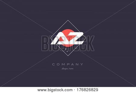 Az A Z  Vintage Retro Pink Purple Alphabet Letter Logo Icon Template