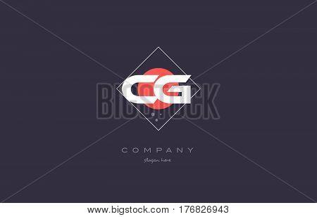 Cg C G  Vintage Retro Pink Purple Alphabet Letter Logo Icon Template