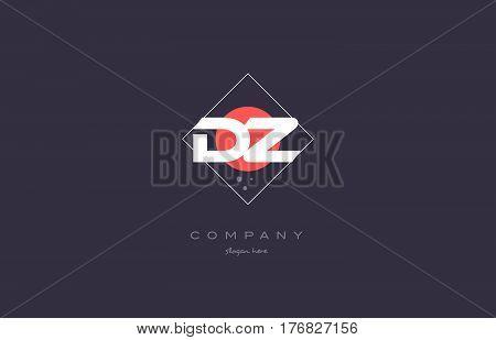 Dz D Z  Vintage Retro Pink Purple Alphabet Letter Logo Icon Template