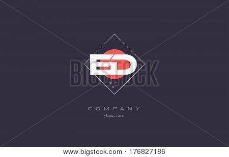 Ed E D  Vintage Retro Pink Purple Alphabet Letter Logo Icon Template
