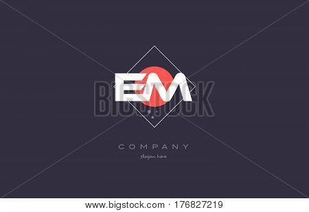 Em E M  Vintage Retro Pink Purple Alphabet Letter Logo Icon Template