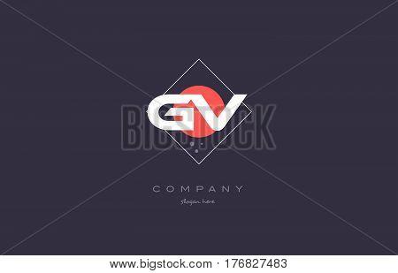 Gv G V  Vintage Retro Pink Purple Alphabet Letter Logo Icon Template