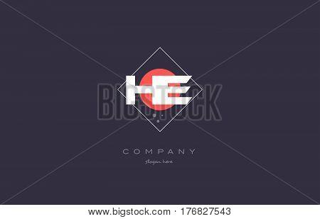 He H E  Vintage Retro Pink Purple Alphabet Letter Logo Icon Template