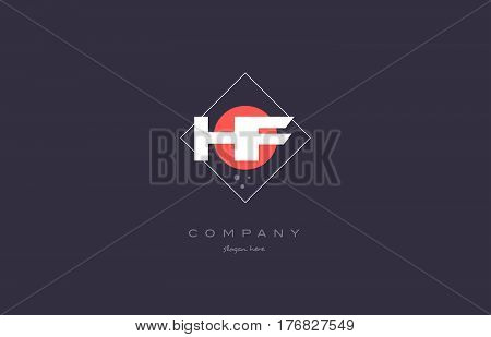 Hf H F  Vintage Retro Pink Purple Alphabet Letter Logo Icon Template