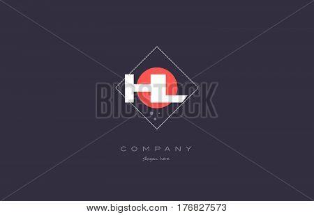 Hl H L  Vintage Retro Pink Purple Alphabet Letter Logo Icon Template