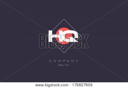 Hq H Q  Vintage Retro Pink Purple Alphabet Letter Logo Icon Template