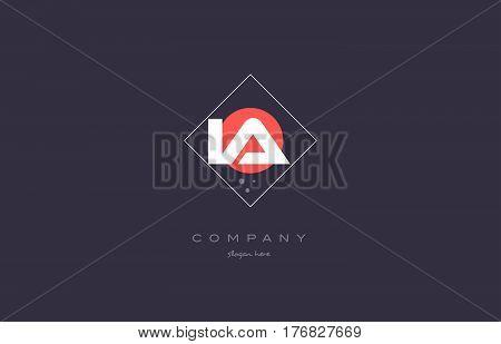 Ia I A  Vintage Retro Pink Purple Alphabet Letter Logo Icon Template