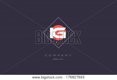 Ig I Q  Vintage Retro Pink Purple Alphabet Letter Logo Icon Template