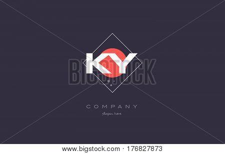 Ky K Y  Vintage Retro Pink Purple Alphabet Letter Logo Icon Template