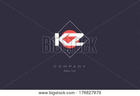 Kz K Z  Vintage Retro Pink Purple Alphabet Letter Logo Icon Template