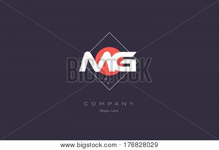 Mg M G  Vintage Retro Pink Purple Alphabet Letter Logo Icon Template
