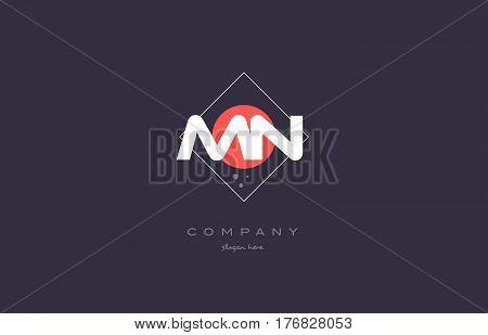 Mn M N  Vintage Retro Pink Purple Alphabet Letter Logo Icon Template