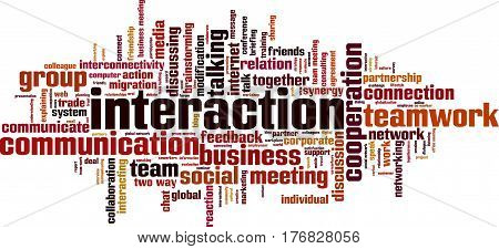 Interaction word cloud concept. Vector illustration on white