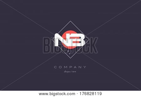 Nb N B  Vintage Retro Pink Purple Alphabet Letter Logo Icon Template