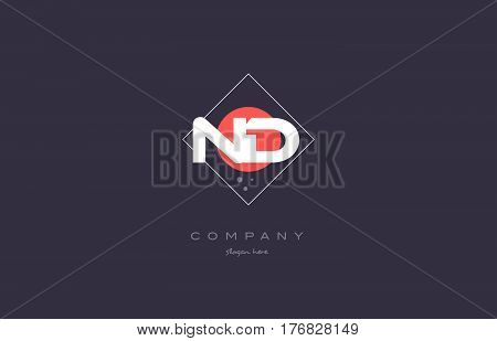 Nd N D  Vintage Retro Pink Purple Alphabet Letter Logo Icon Template