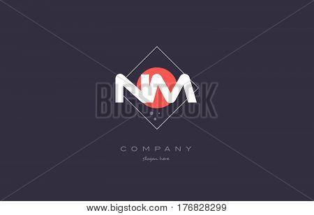 Nm N M  Vintage Retro Pink Purple Alphabet Letter Logo Icon Template
