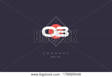 Ob O B  Vintage Retro Pink Purple Alphabet Letter Logo Icon Template