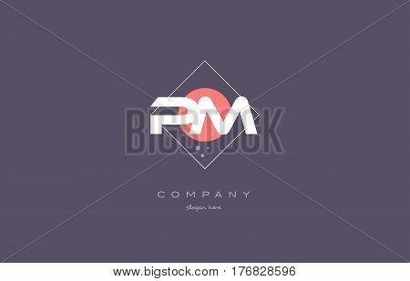 Pm P L  Vintage Retro Pink Purple Alphabet Letter Logo Icon Template