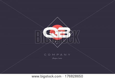 Qb Q B  Vintage Retro Pink Purple Alphabet Letter Logo Icon Template
