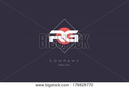 Rg R G  Vintage Retro Pink Purple Alphabet Letter Logo Icon Template