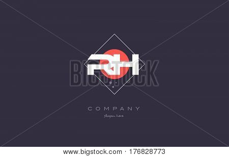 Rh R H  Vintage Retro Pink Purple Alphabet Letter Logo Icon Template