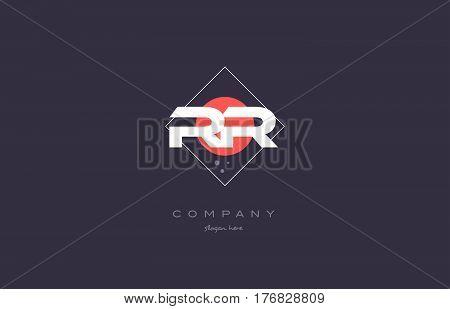 Rr R  Vintage Retro Pink Purple Alphabet Letter Logo Icon Template