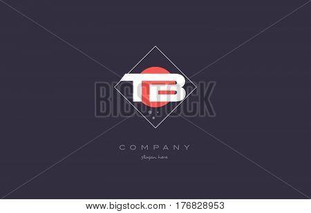 Tb T B  Vintage Retro Pink Purple Alphabet Letter Logo Icon Template