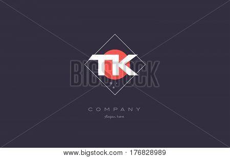 Tk T K  Vintage Retro Pink Purple Alphabet Letter Logo Icon Template