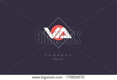 Va V A  Vintage Retro Pink Purple Alphabet Letter Logo Icon Template