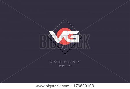 Vg V G  Vintage Retro Pink Purple Alphabet Letter Logo Icon Template