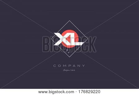 Xl X L  Vintage Retro Pink Purple Alphabet Letter Logo Icon Template