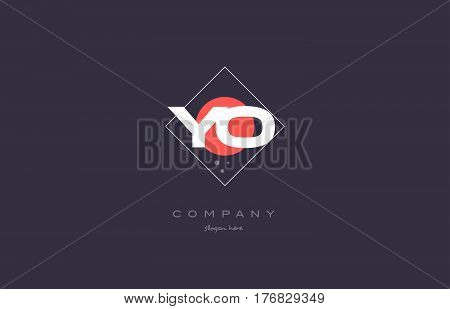Yo Y O  Vintage Retro Pink Purple Alphabet Letter Logo Icon Template