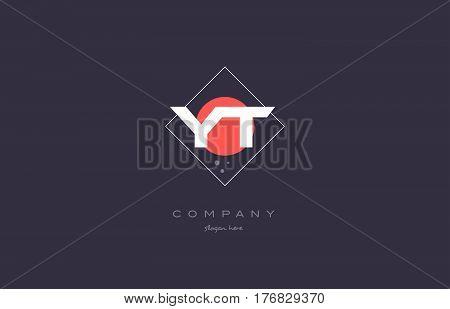 Yt Y T  Vintage Retro Pink Purple Alphabet Letter Logo Icon Template