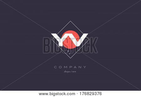 Yv Y V  Vintage Retro Pink Purple Alphabet Letter Logo Icon Template