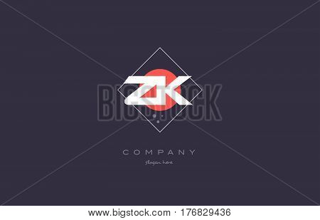 Zk Z K  Vintage Retro Pink Purple Alphabet Letter Logo Icon Template