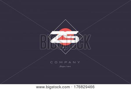 Zs Z S  Vintage Retro Pink Purple Alphabet Letter Logo Icon Template