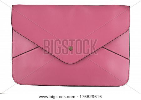 front view of closed female pink leather envelope shape handbag with metallic enclosure isolated on white background